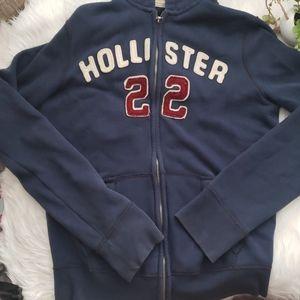 Hollister 22 Navy Blue Full Zip Vintage Hoodie